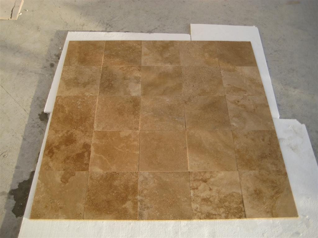 12x12 Dark Walnut Unfilled Honed Travertine
