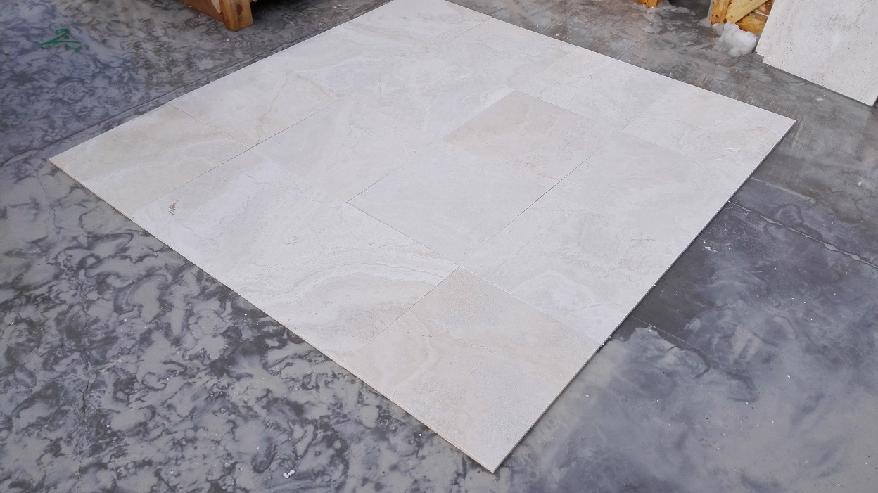 18x18 Navona Pearl Filled&Honed Travertine Premium