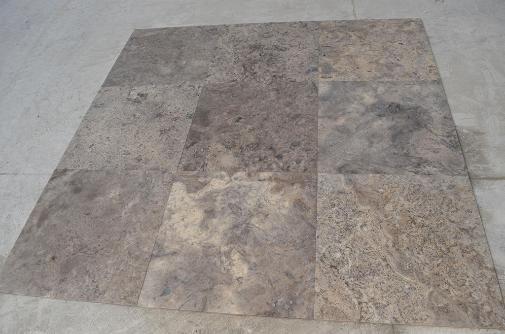 24x24 Silver Filled&Honed Travertine Premium