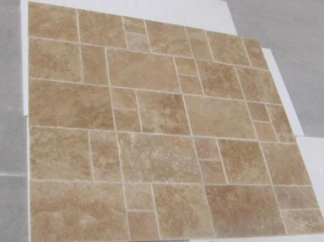Dark Walnut French Pattern Br & Ch Travertine Premium