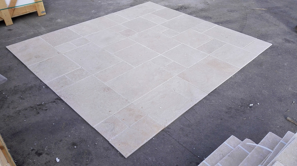 1.2cm x French Pattern Ivory Light Brushed&Chiseled Travertine Premium