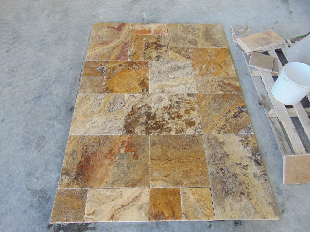 Scabos French Pattern Brushed & Chiseled Travertine Premium