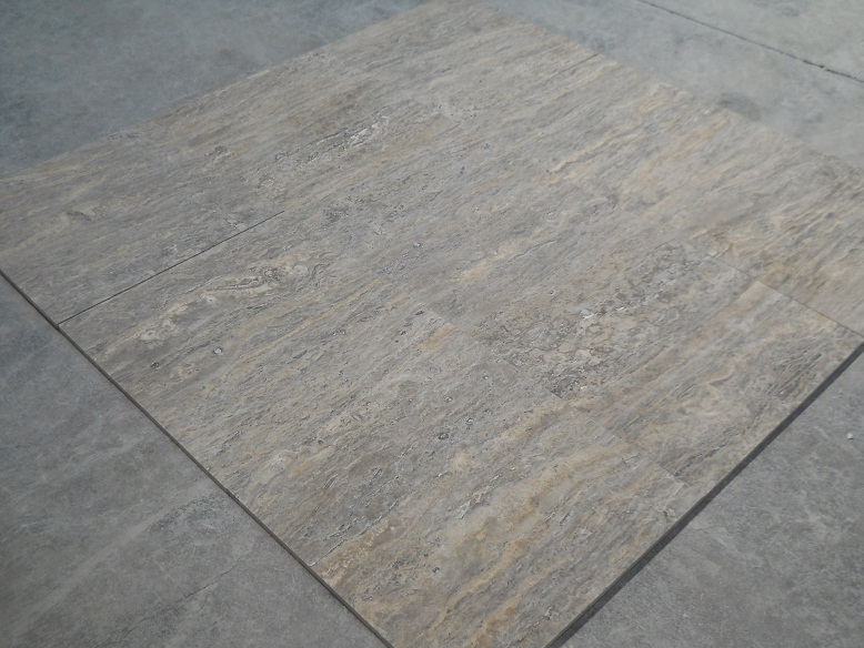 24 x 24 Silver Travertine Veincut Filled&Honed Premium