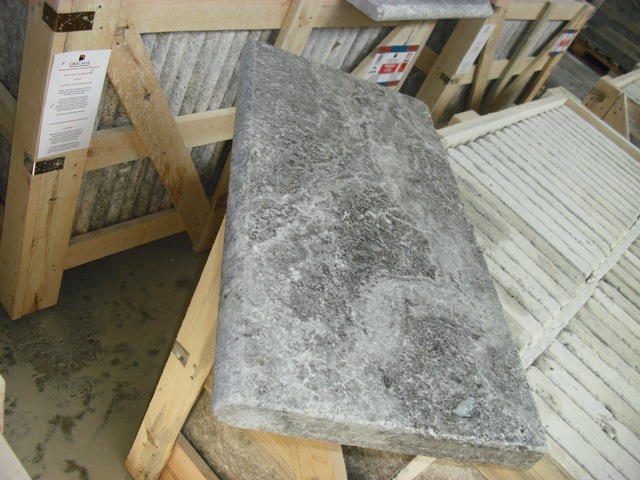 2x12x24 Silver Tumbled Travertine Pool Coping 2