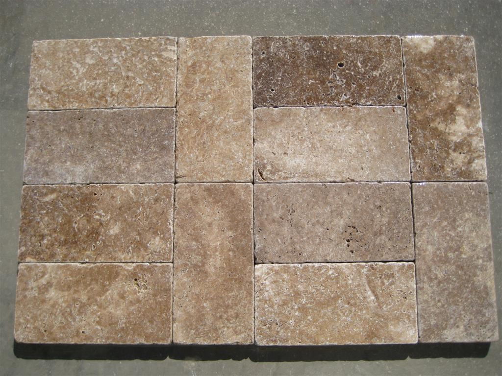 32x6x12 Dark Walnut Tumbled Pavers