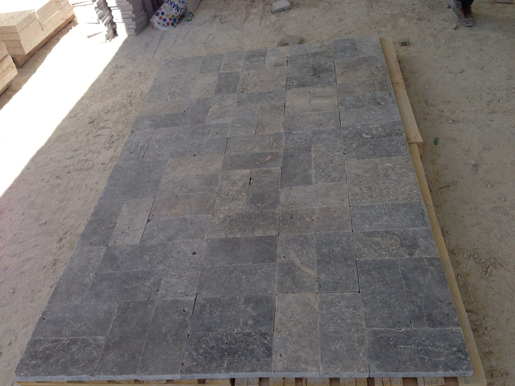 3cm x6x12 Silver Tumbled Travertine Paver Premium Kuru