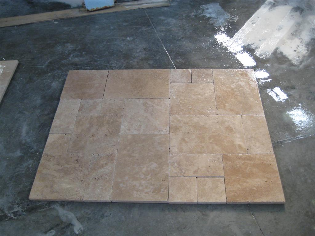 3cm French Pattern Light Walnut Tumbled Pavers Wet 2