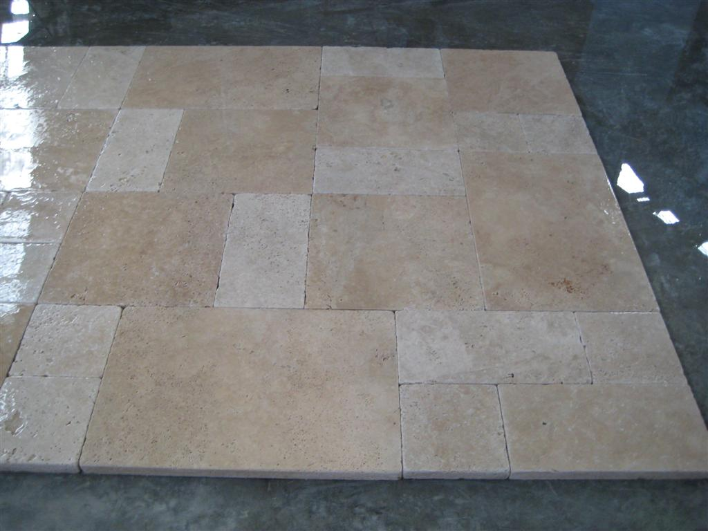 3cm French Pattern Light Walnut Tumbled Pavers Wet 1
