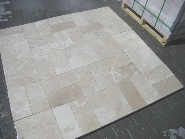 6x12 Ivory Light Tumbled Travertine Paver Premium