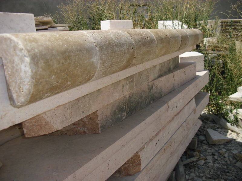 Noce Tumbled Travertine Remodeling Pool Coping