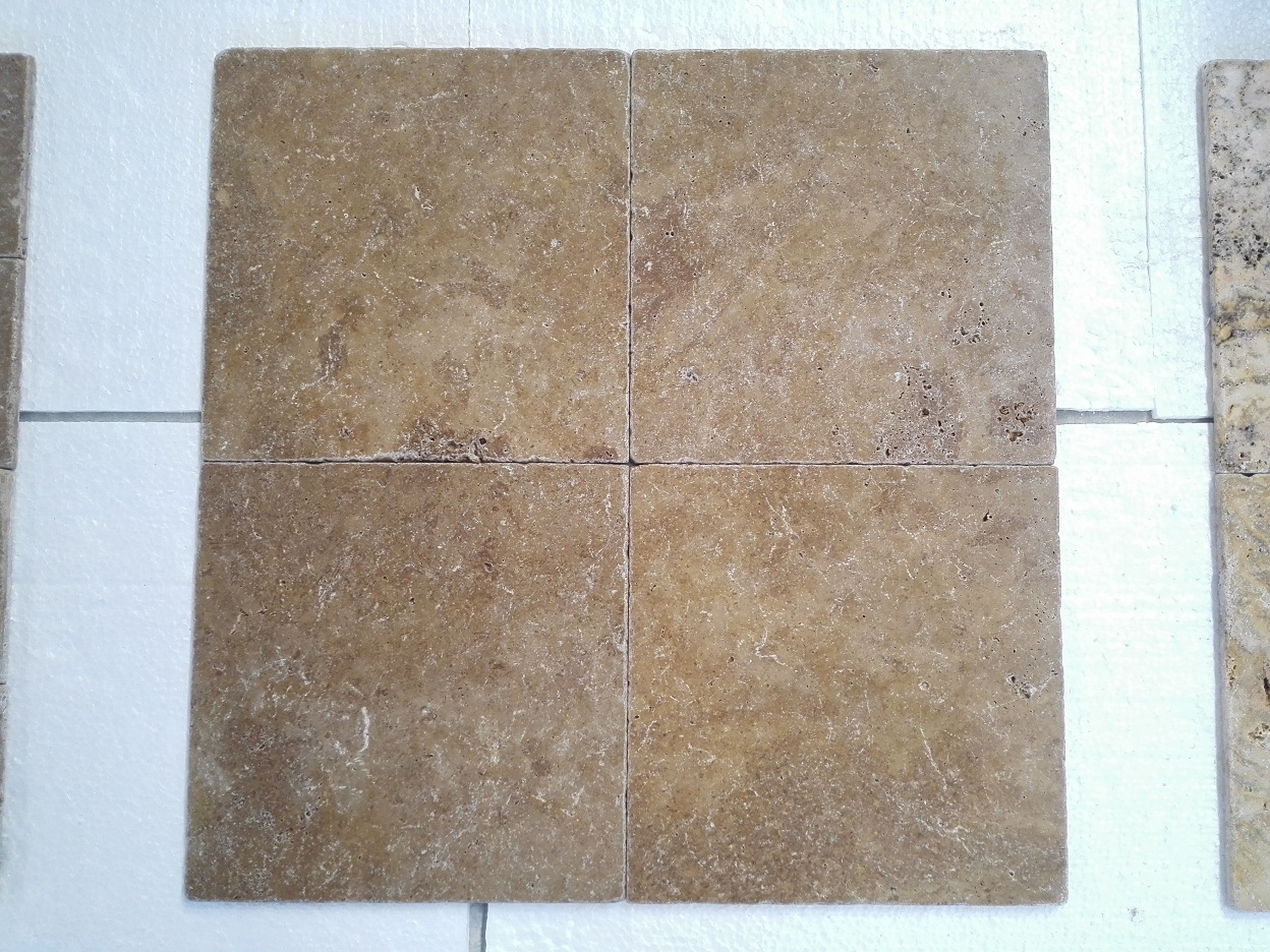 12x12 Noce Tumbled Travertine Premium