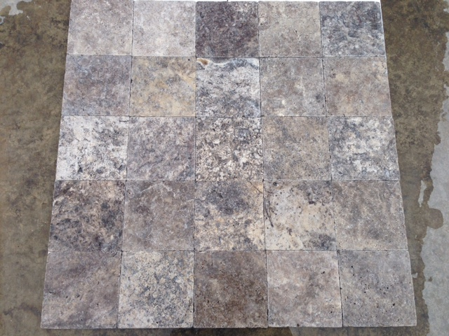 12x12 Silver Travertine Tumbled Premium