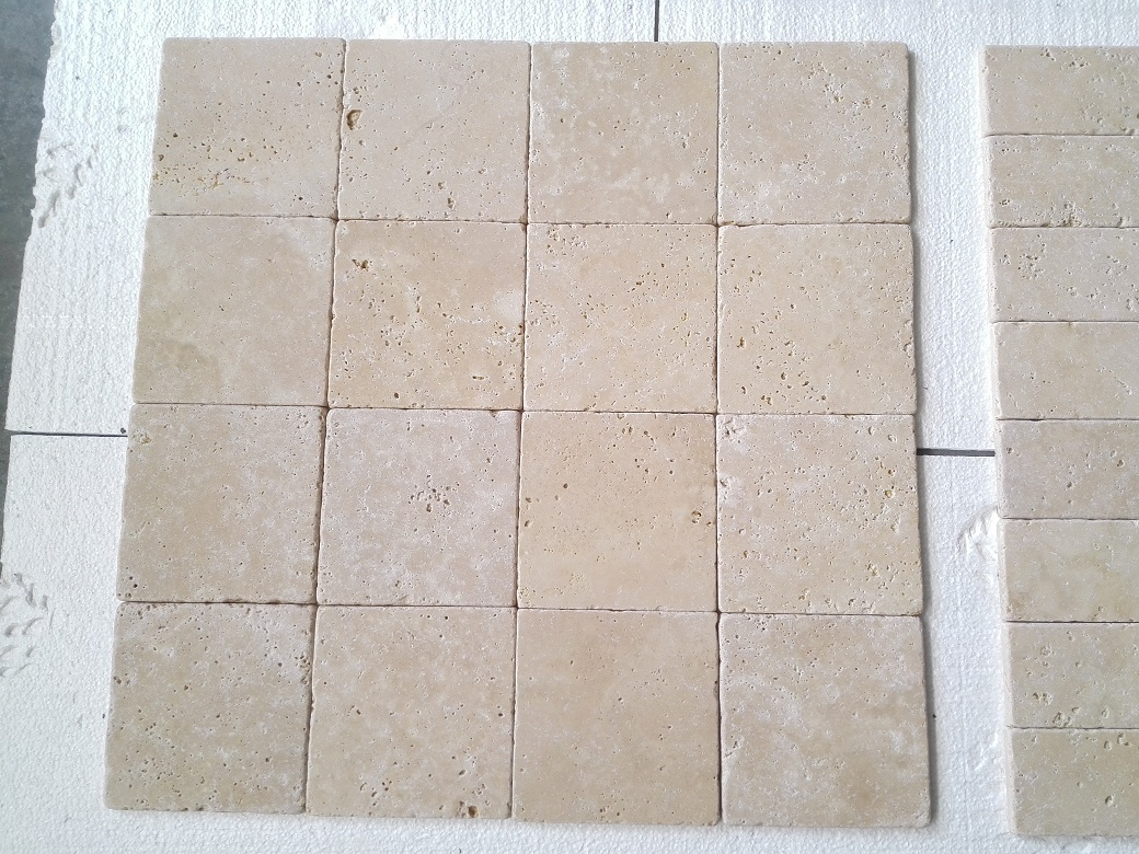3x6 Ivory Light Travertine Tumbled Premium