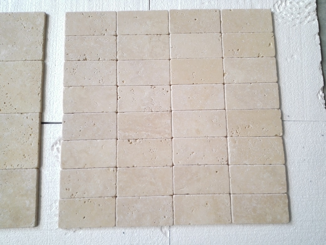 4x4 Ivory Light Travertine Tumbled Premium