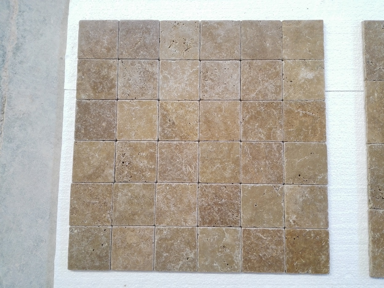 4x4 Noce Tumbled Travertine Premium 1
