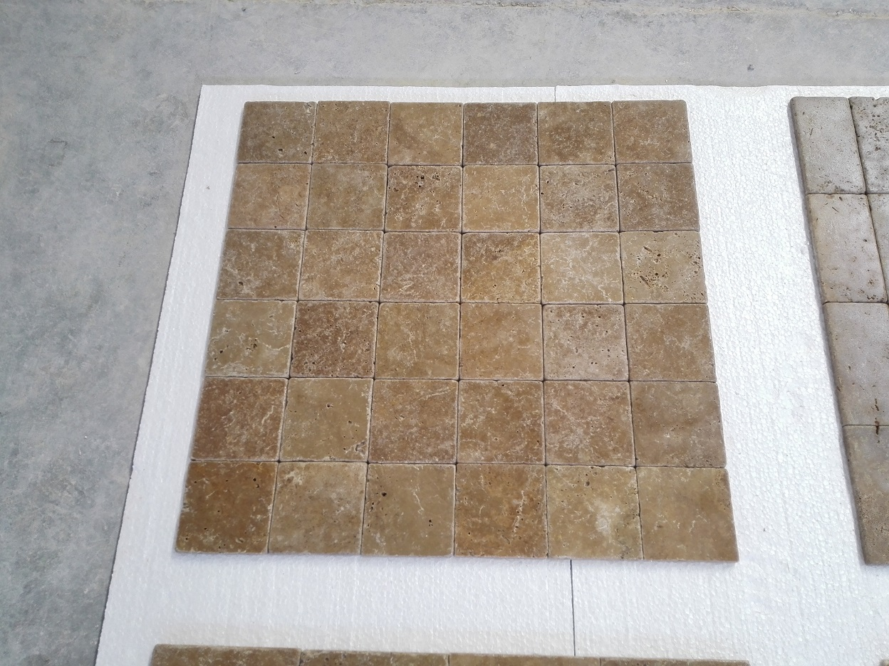 4x4 Noce Tumbled Travertine Premium 2