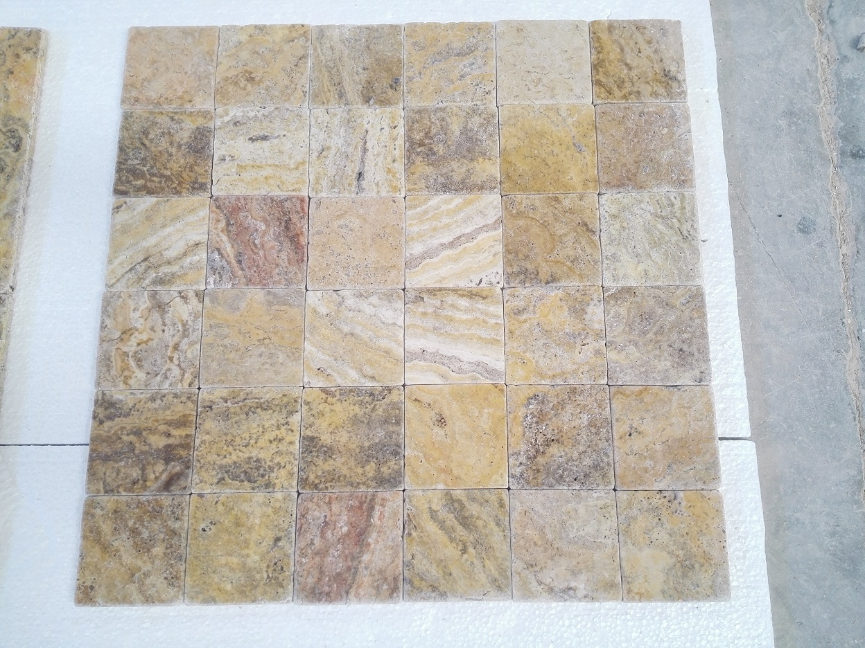 4x4 Scabos Travertine Tumbled Premium