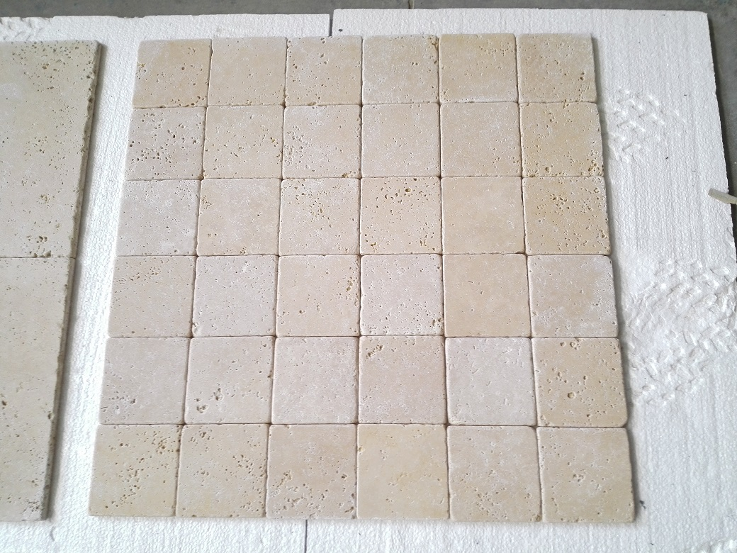 6x6 Ivory Light Tumbled Travertine Premium