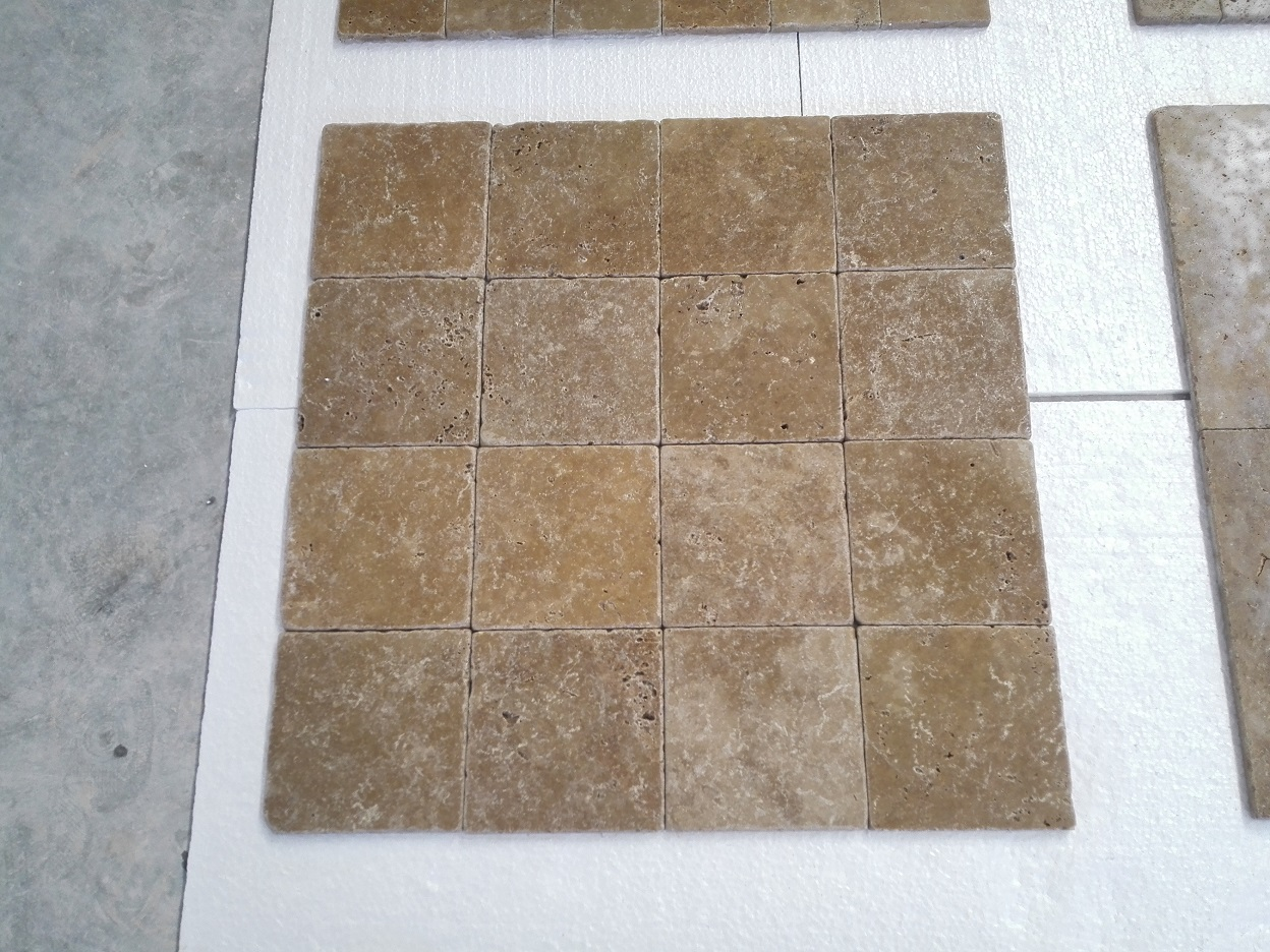 6x6 Noce Tumbled Travertine Premium
