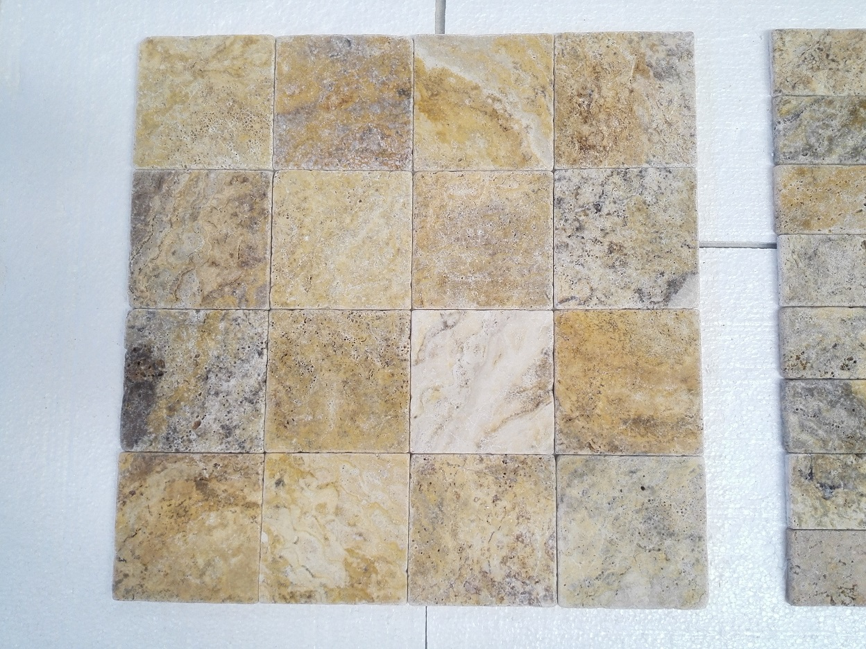 6x6 Scabos Travertine Tumbled Premium