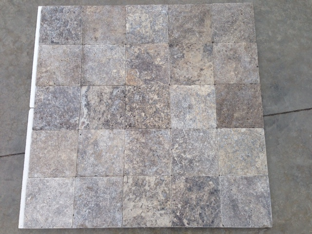 6x6 Silver Travertine Tumbled Premium